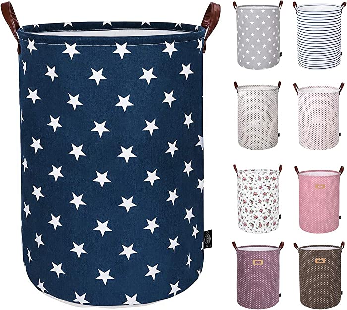 DOKEHOM 22-Inches Thickened X-Large Laundry Basket -(9 Colors)- with Durable Leather Handle, Drawstring Waterproof Round Cotton Linen Collapsible Storage Basket (Blue Star, XL)
