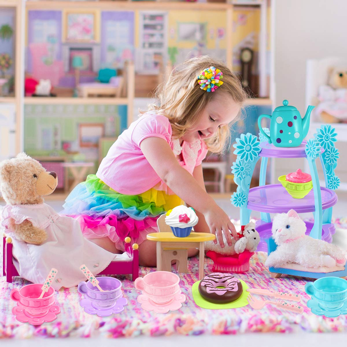 Dishwasher Safe iBaseToy Tea Set 35 Pieces Pretend Play Tea Party Set Toys for Kids Toddlers Boys Girls Includes Full Tea Set with Pastries Cake Stand and More Food-Safe Material