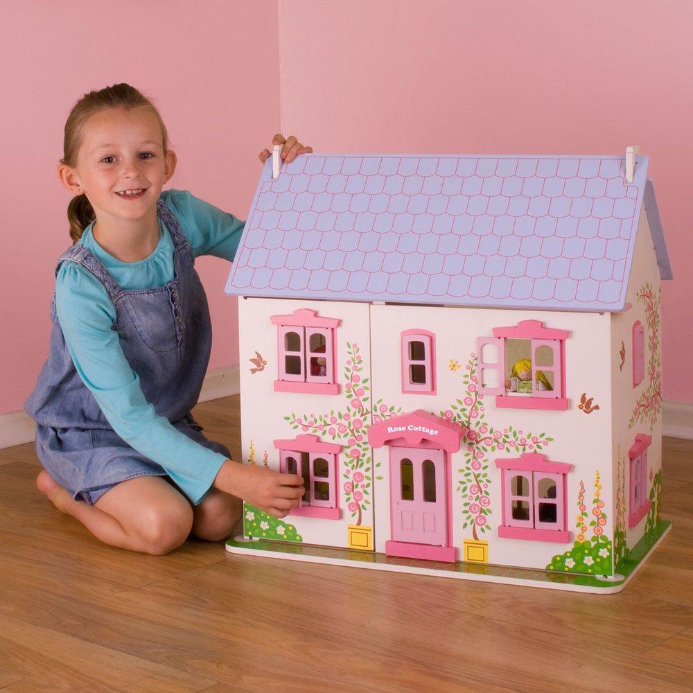 Amazon.com: Bigjigs Toys Heritage Playset Rose Cottage   Wooden Doll House:  Toys U0026 Games