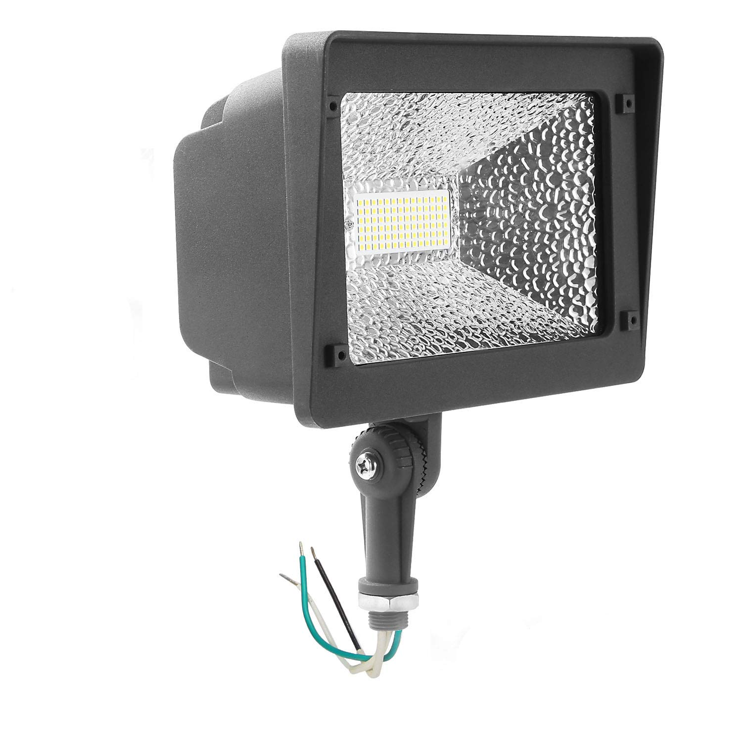 Cinoton LED Floodlight with Knuckle, 50W Security Outdoor Lighting (250W Equivalent), 5500 Lumen, 5000K (Crystal White Glow), Waterproof, IP65, 100-277v, Instant On (1 Pack, NOT Photocell)