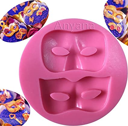 Anyana Masquerade Mask Cake Border Mould Fondant Silicone Gum Paste Mold For Sugar Fancy