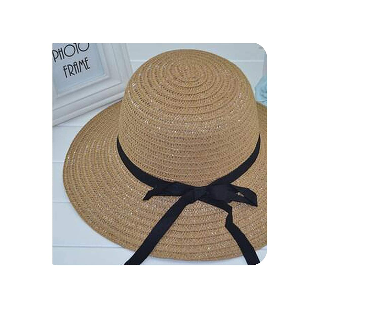 Womens Straw Sun Hat Black Striped Overflowed Floppy Fashion