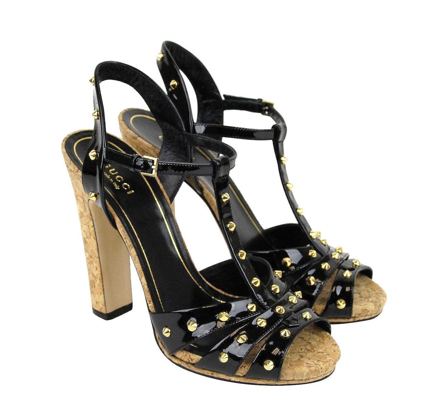 bf9bdfc9aa21 Amazon.com  Gucci Women s Black Jacquelyne Studs Patent Leather Platform  Sandal 310349 1000 (G 38.5   US 8.5)  Shoes