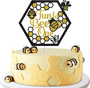 Fun To Bee One Sign Cake Topper, Happy 1st Birthday Party Decor, Bumble Bee Honey, Baby Shower, One Year Old Party Decoration Supplies Photo Booth Props - Glod & Black Glitter