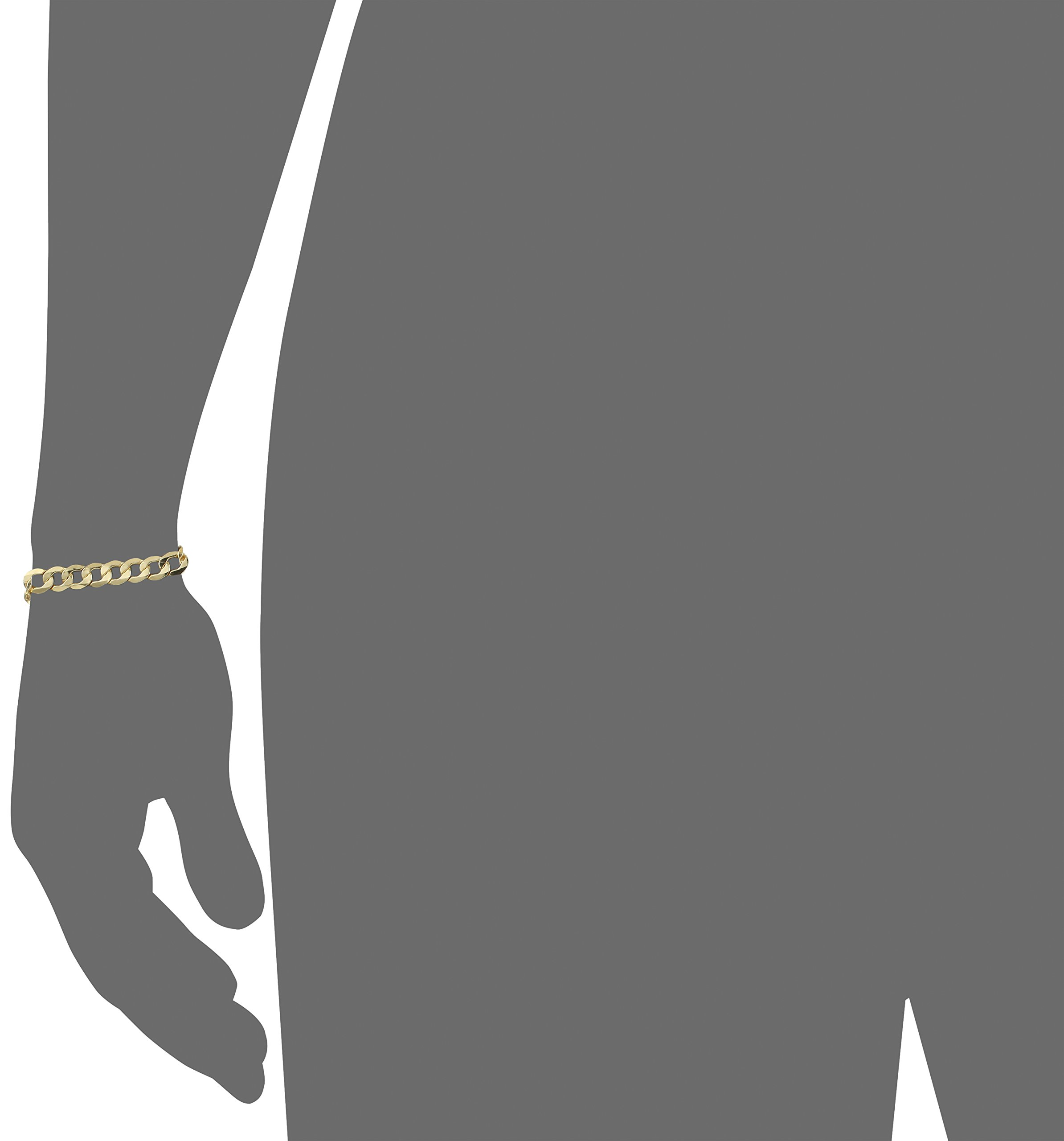 Men's 10k Yellow Gold 8.8mm Curb Link Bracelet, 9'' by Amazon Collection (Image #2)