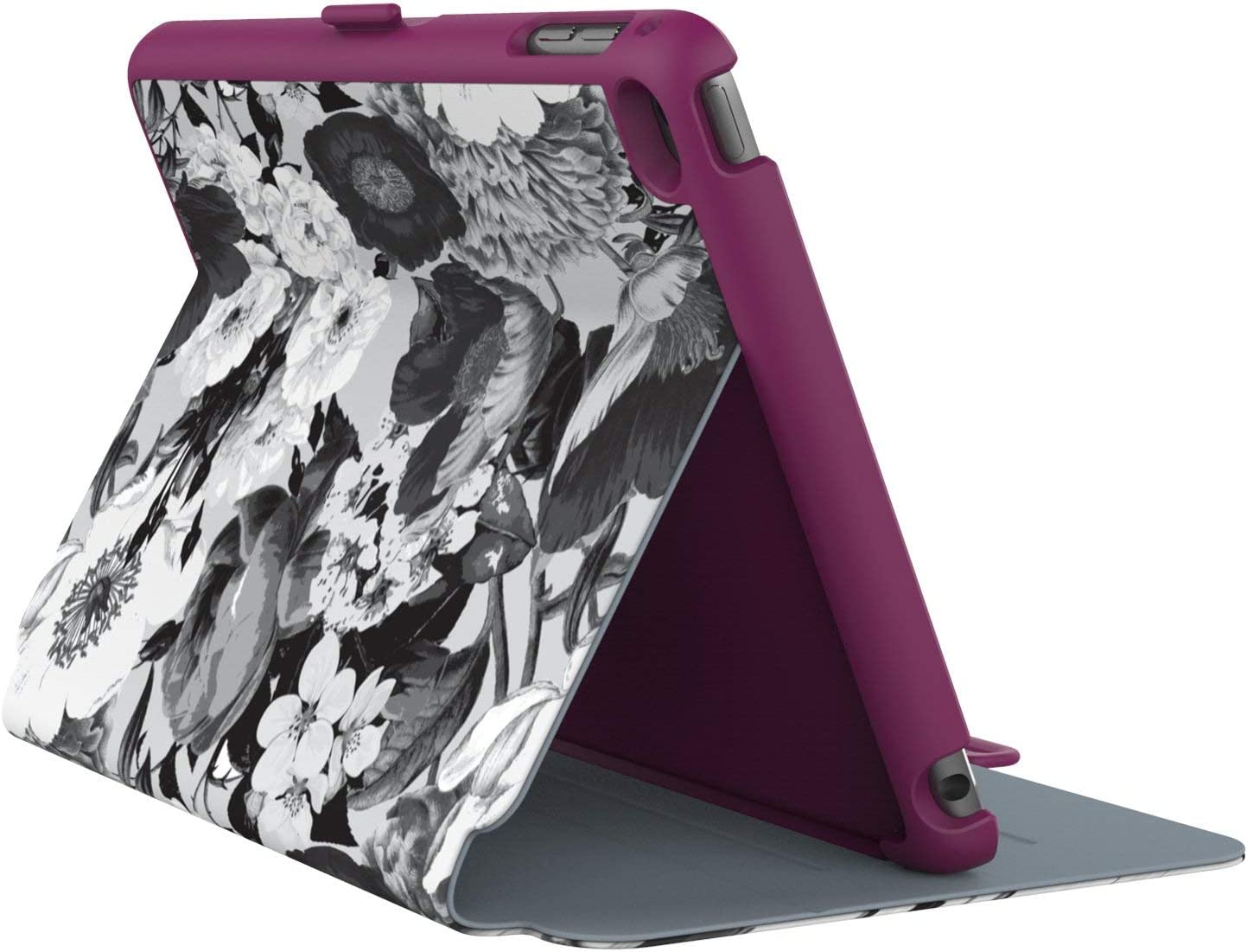 Speck Products Stylefolio iPad Mini 4 Case with Stand, Vintage Bouquet Grey/Boysenberry Purple