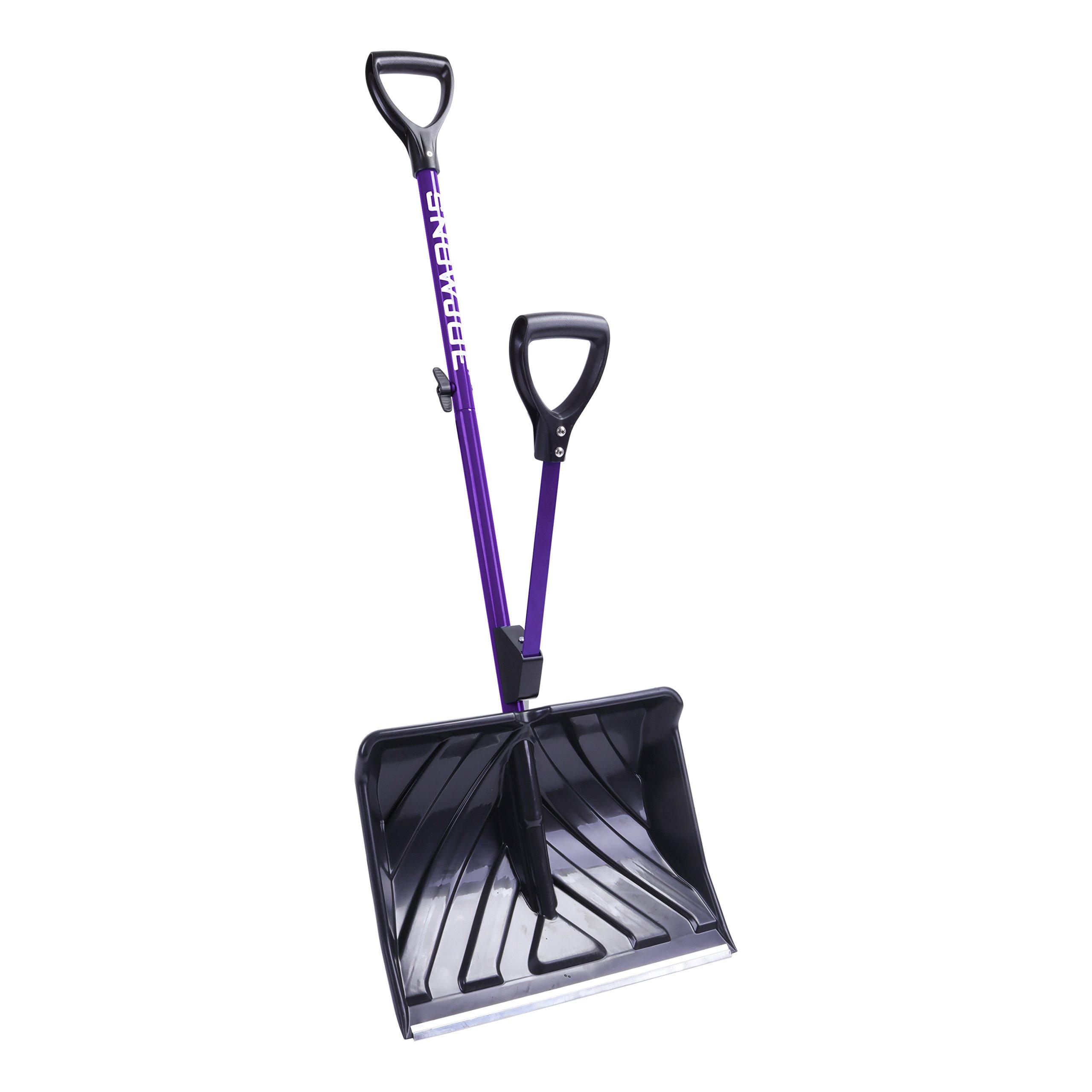 Snow Joe SJ-SHLV01-PRP-RM Shovelution Strain-Reducing Snow Shovel (Purple) (Certified Refurbished) | 18-Inch | Spring Assisted Handle