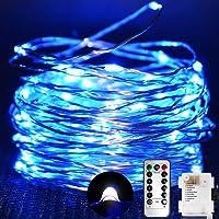Cadena de Luces, Guirnalda de Luces 10M 100 LED Impermeable Línea de Plata de 8 Modos de Luz, con Control Remoto para…