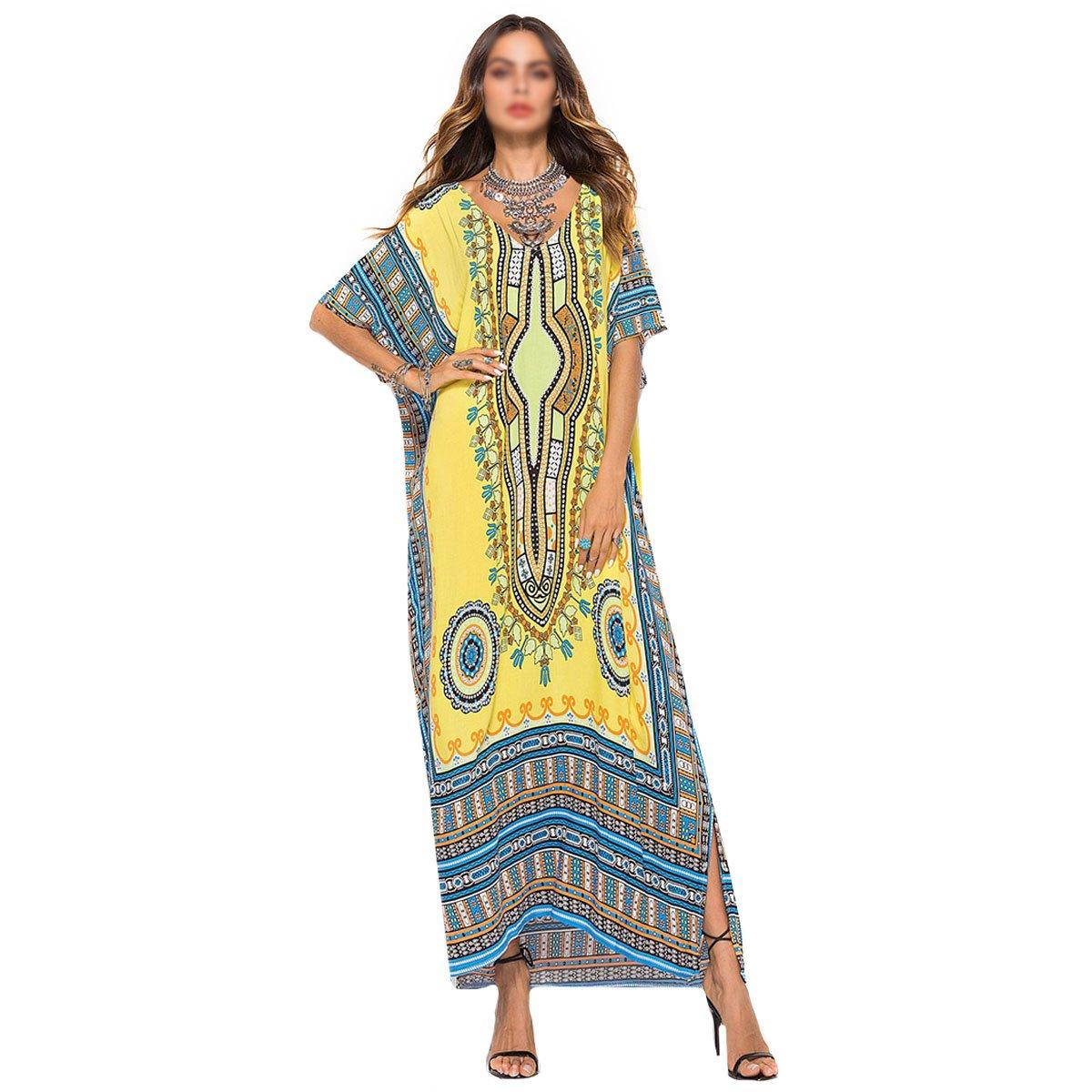 Monique Women's African Floral Print Maxi Long Dress Casual Bat Sleeves Full Dress Summer Beach Cover up 2746 Yellow