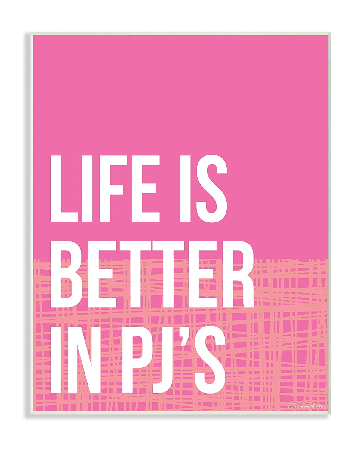 16 x 1.5 x 20 Proudly Made in USA Stupell Home D/écor lulusimonSTUDIO Life Is Better In Pjs Pink and Orange Oversized Framed Giclee Texturized Art