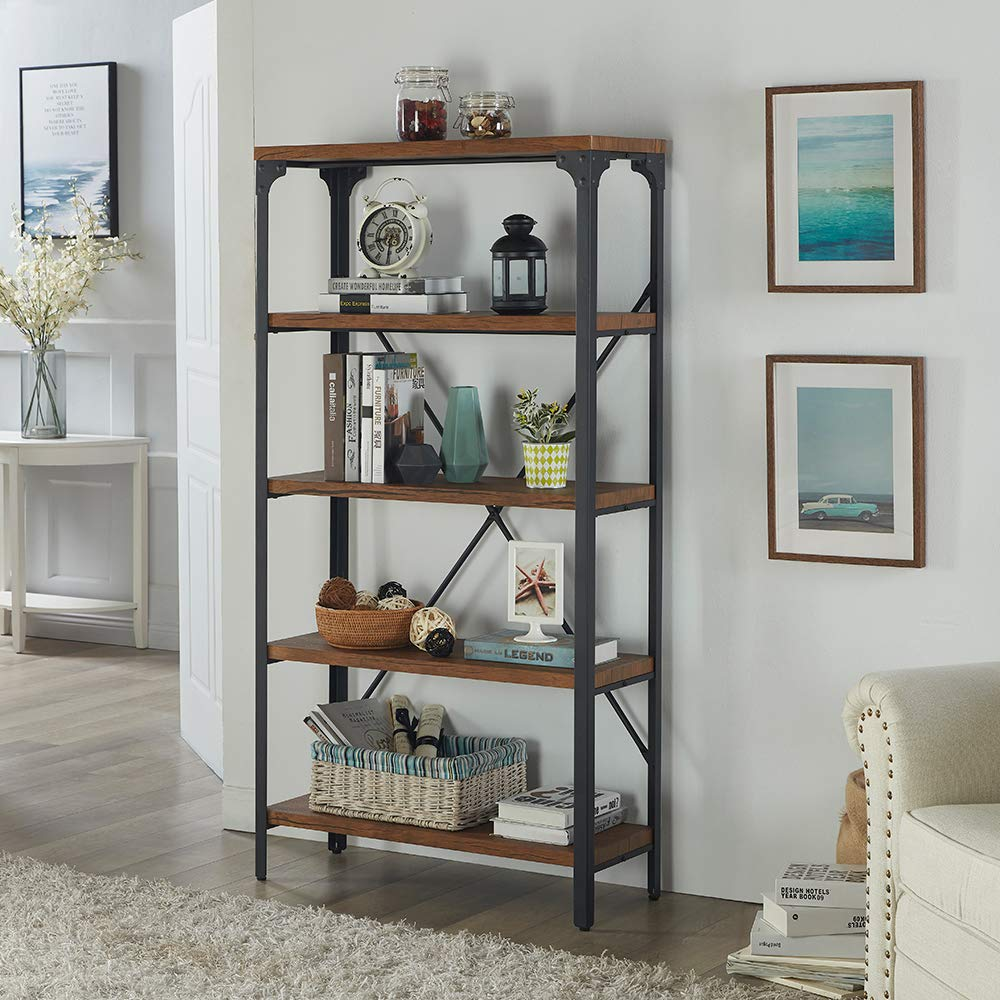 Homissue 5-Tier Bookcase, Vintage Industrial Style Bookshelf with Angle Iron Metal Frame, Free Standing Storage Display Shelves for Home Office, Brown Finish by Homissue