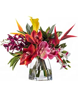 Amazon orchid calla lily silk centerpiece home kitchen faux orchids heliconia tropical flower arrangement mightylinksfo