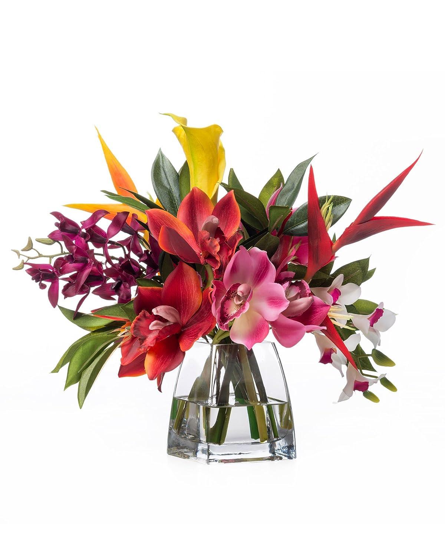 Amazon Faux Orchids Heliconia Tropical Flower Arrangement