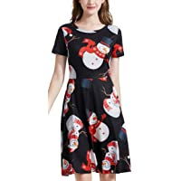 daisysboutique Womens Christmas Round Neck Casual Midi A Line Vintage Swing Dress