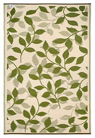 Fab Habitat Bali Indoor Outdoor Rug, Forest Green Cream, 3 x 5