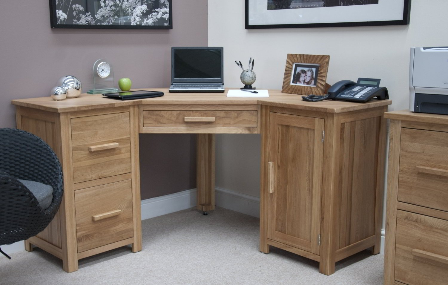 Oak office desk benefits for home office - Eton Solid Oak Furniture Office Pc Corner Computer Desk Amazon Co Uk Kitchen Home