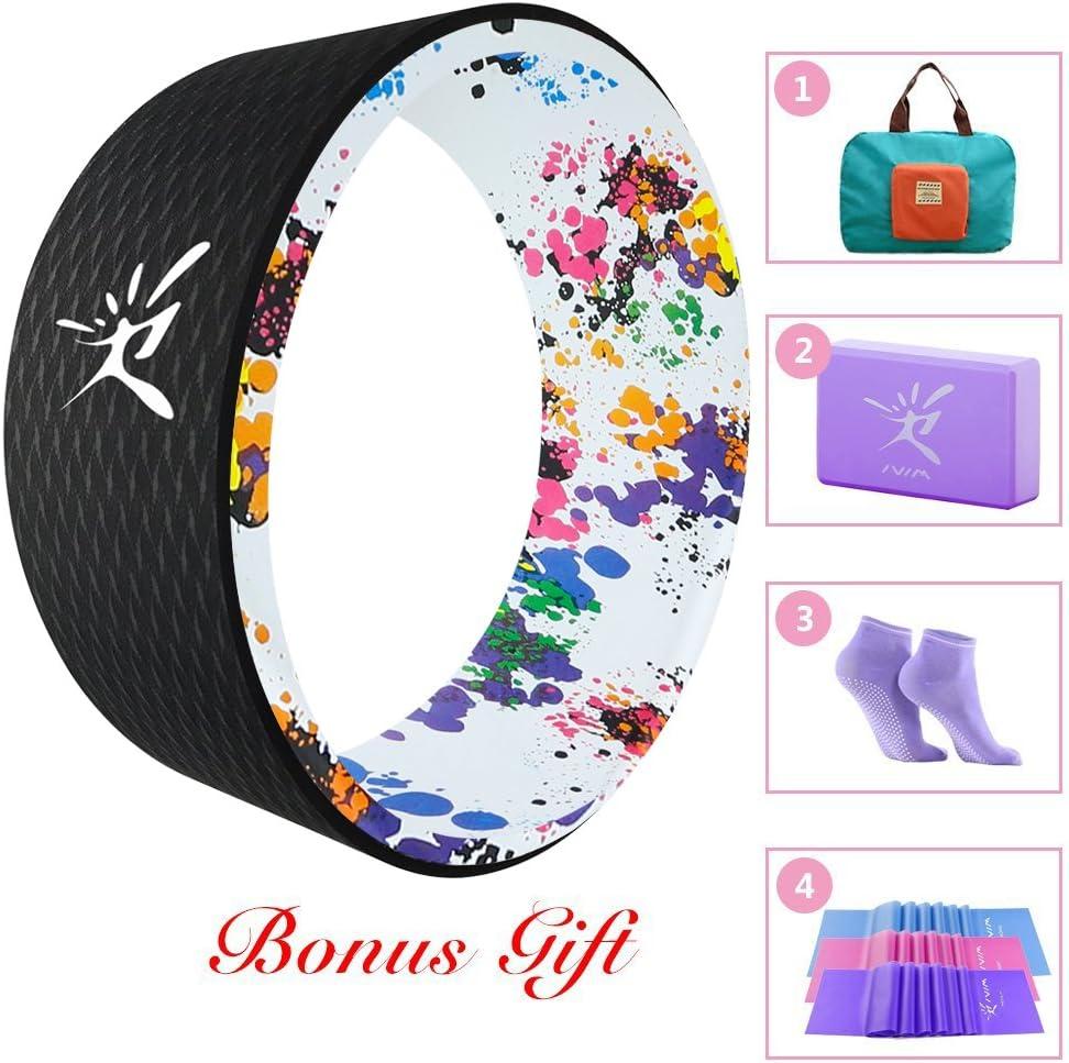 Juego de rueda para Yoga para Yoga Starter incluye Yoga Dharma rueda, Basic Manual, resistencia banda, bloque de Yoga, Yoga Cinturón y plegable práctica bolsa de 33x 13cm