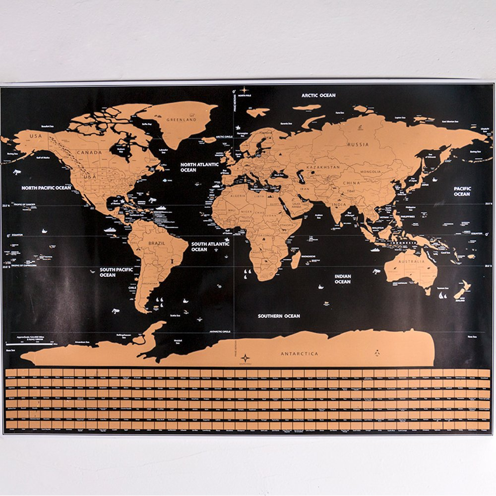 Scratch Map Art,Scratch off World Map,Interactive Travel Scratch Map Black and Gold Edition,Bright Colors Premium Artwork Poster for Home/Office Decor, Gift for Children Large 16.5 x 11.8 Inches (# 1)