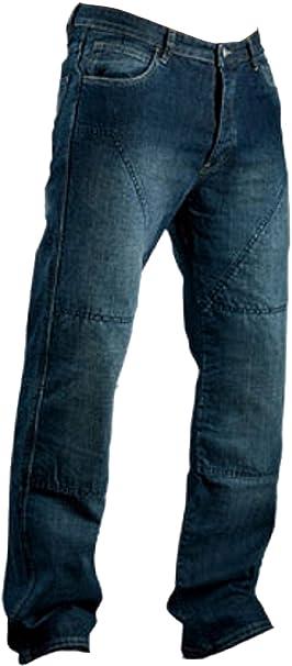 Juicy Trendz Hombre Motocicleta Pantalones Moto Pantalón Mezclilla Jeans Con Protección Aramida Azul W40-L32