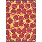 Custom printed with Funny king Pizza Velvet Plush Throw Blanket(Large)Super soft and Cozy Fleece Blanket Perfect for Couch Sofa or bed
