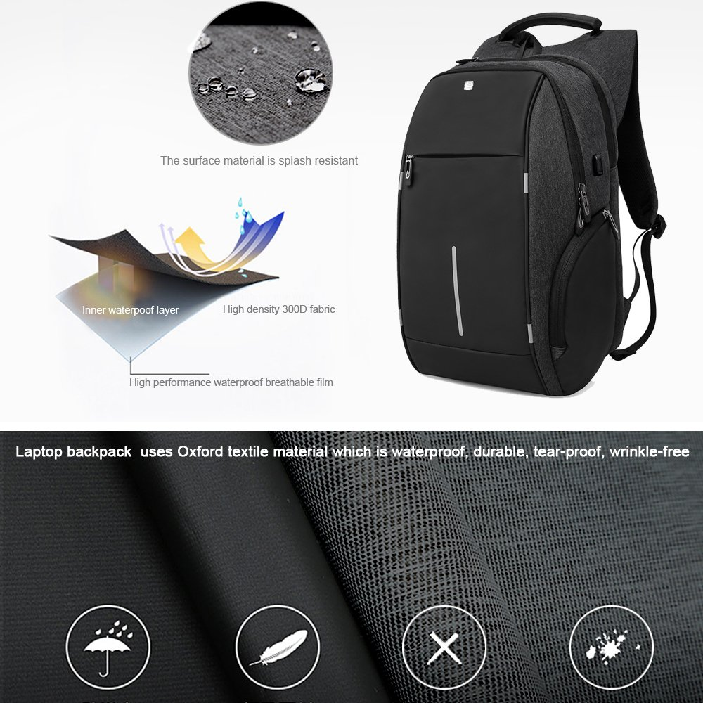 Business Laptop Backpack, HiOrange Travel Anti Theft Computer Backpack with USB Charging Port, Waterproof Night Light Reflective College school bag for Women & Men Fits 15.6 Inch Laptop and Notebook by HiOrange (Image #3)