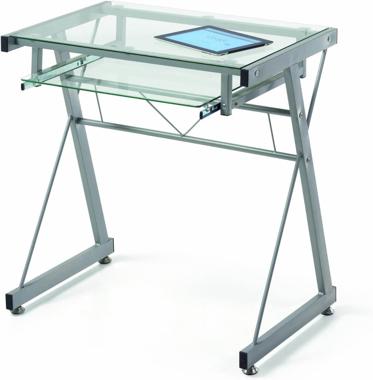 Due-home Mesa de ordenador mesa pc diseño moderno, metal y cristal ...