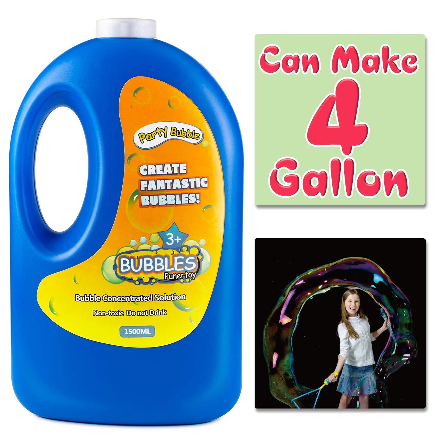 54 Ounce Concentrated Bubble Solution Refill(Can Make 4 Gallon), Big Bottle for Jumbo Giant Bubble Soap Bubble Wand Blower Machine Gun Maker, Bath Time, Summer Outdoor Gift for Girl Boy Kid Child by Punertoy (Image #1)