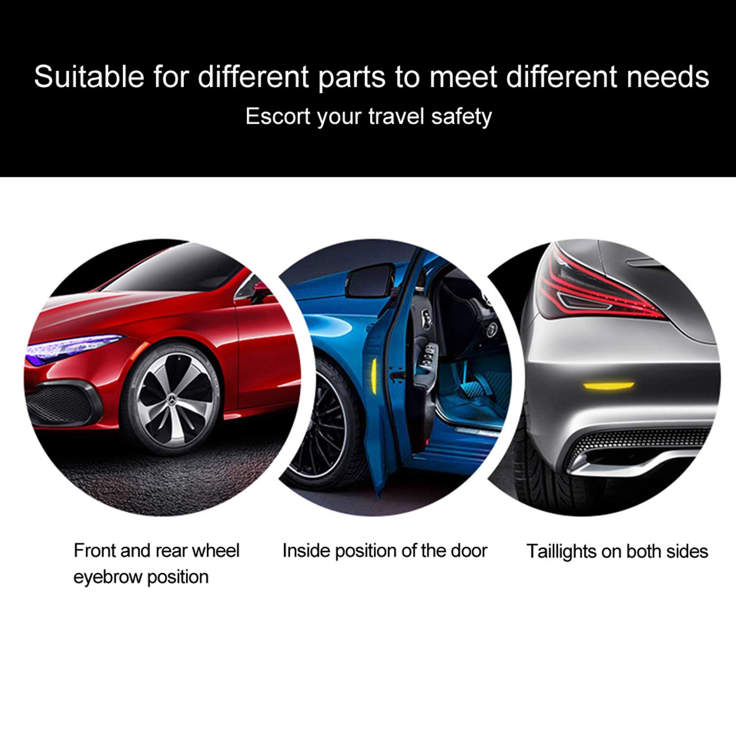 LOCEN Car Reflective Warning Sticker Wheel Side Door Edge Bumper Strip Protection Waterproof for Universal Household Appliances Buses - 2 Pack - Red