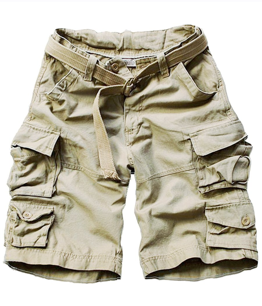 FOURSTEEDS Women's Cotton Butt Lift Multi-Pockets Camouflage Casual Twill Bermuda Cargo Shorts with Belt Light Khaki US 8 by FOURSTEEDS
