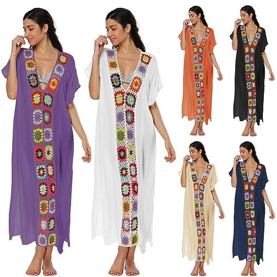 ❤️Faldas, Challeng Juegos de baño, bikinis, vestidos de ganchillo, vestidos de playa, vestidos de playa, vestidos de algodón (azul marino): Amazon.es: ...