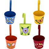 Bee Garden Round Railing Planters Flower Pots With Hand Painted Design On Stainless Steel Pot For Wall Hanging Indoor/Outdoor