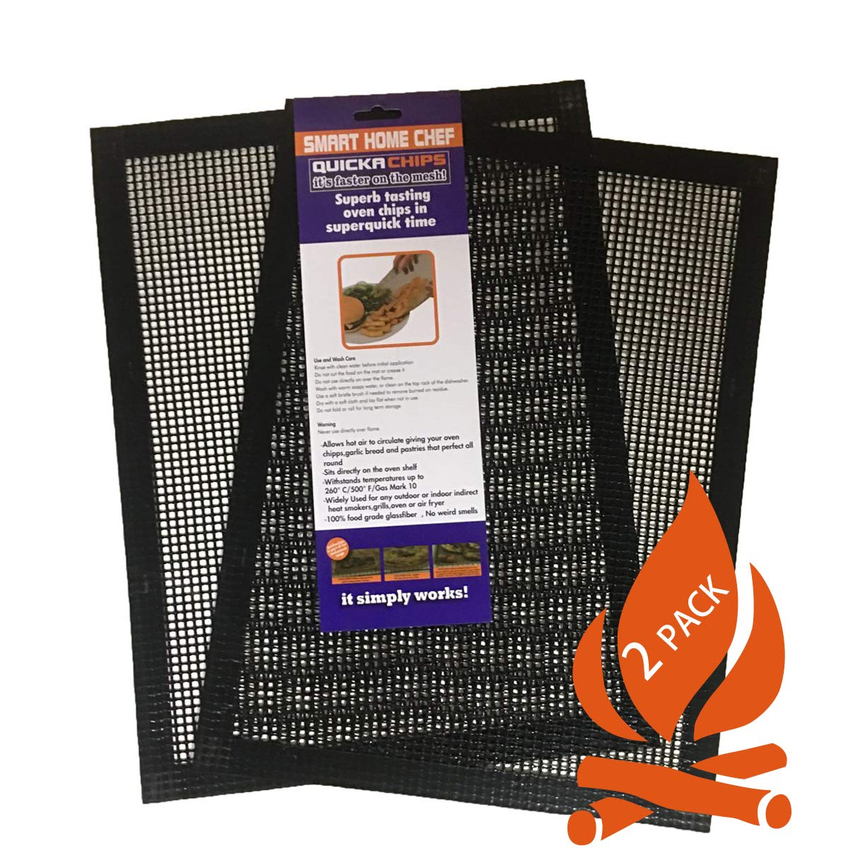 Grill Mat BBQ Tool(SET of 2) - Mesh BBQ Fish and Vegetable Mat Non Stick That Allows Smoke to Pass Through Perfect For Grills, Smokers and Ovens
