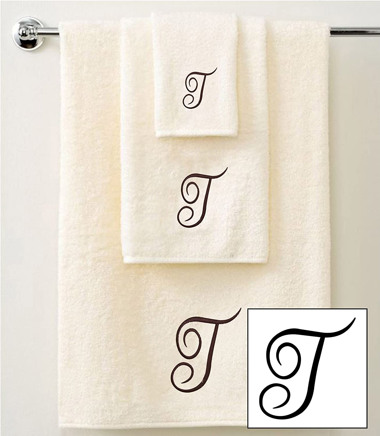 1 Hand Towels and 1 Guest Towels IvoryBrown A QCS Personalised Embroidered 3 Piece Towel Set in Brown Script 100/% Cotton 600 GSM 1 Bath Towels