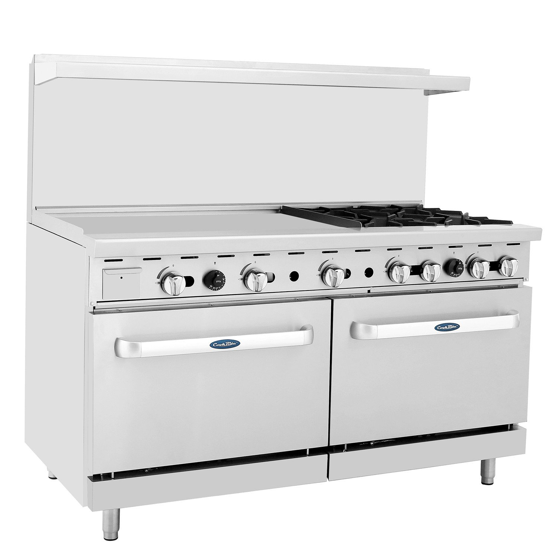 """CookRite Commercial Natural Gas Range 4 Burner Hotplates With 36"""" Manual Griddle 2 Standard Ovens 60'' Restaurant Range - 229,000 BTU"""