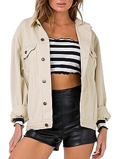 a84fb59d2b Eliacher Women's Boyfriend Denim Jacket Long Sleeve Loose Jean Jacket Coats