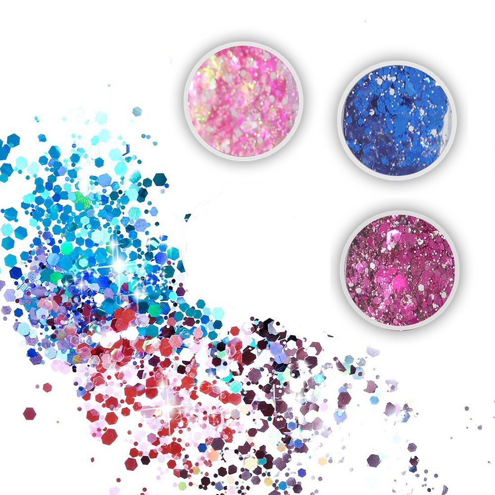Body Glitter 6 Colors Holographic Chunky Glitter Long Lasting Fix Gel,COSMETIC GLITTER NEKOMI,Festival Beauty Makeup Face Body Hair Nails,Apply directly without glue by Nekomi (Image #2)