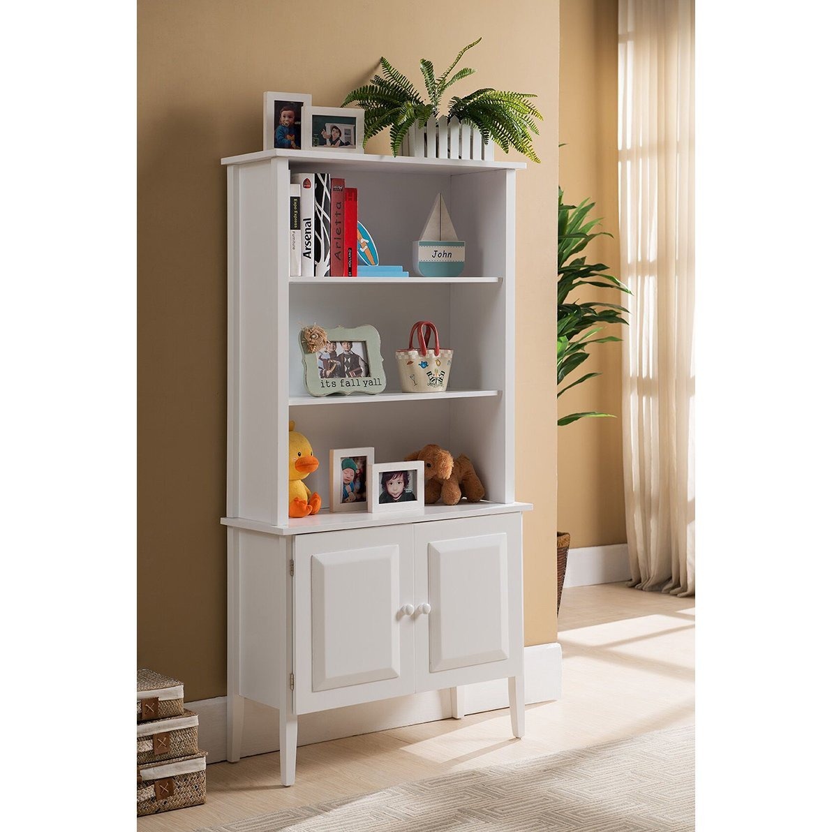 Cabinet Traditional, Transitional Tall White Bookcase (BK120). 29 in Wide x 12 in Long x 58 in High - Assembly Required
