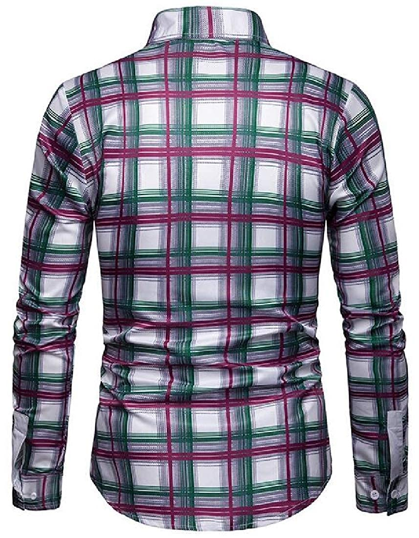 X-Future Mens Checkered Business Long Sleeve Regular Fit Button Down Dress Shirts