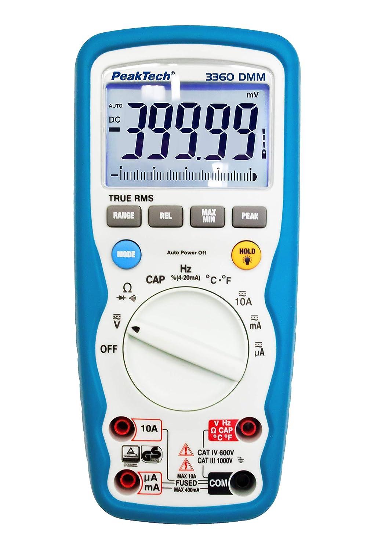 PeakTech True RMS Digital Multimeter 40000 Counts IP67 Wasserdicht mit Durchgangsprü fer und Autorange - CAT III 1000V / CAT IV 600V, 1 Stü ck, P 3360