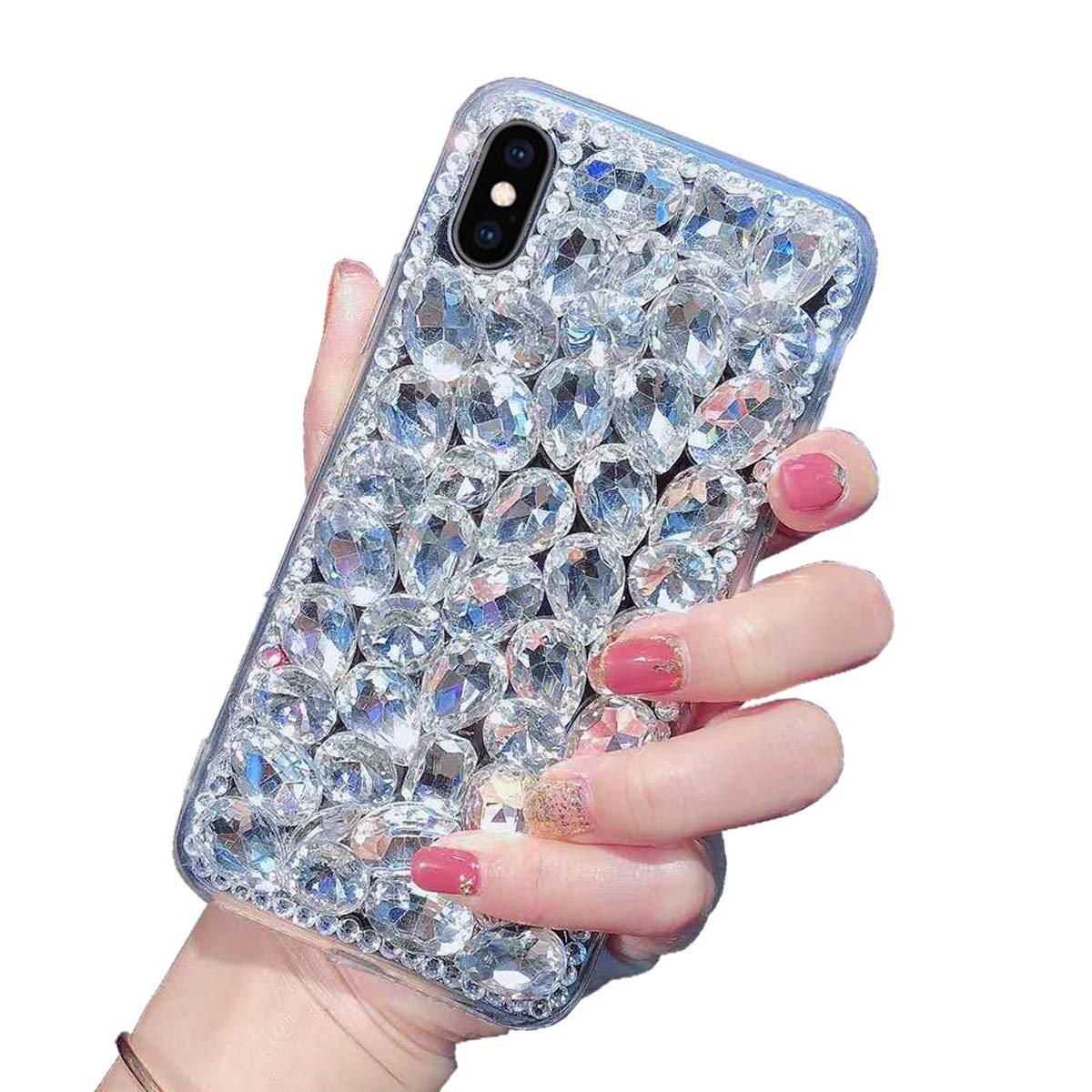 Luxus Glitzer Hülle für Galaxy J5 2017, Misstars 3D Bling Diamant Handyhülle Transparent Hart PC Rückschale mit Silikon TPU Rahmen Schutzhülle für Samsung Galaxy J5 2017 SM-J530F, Silber