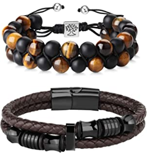 Hanpabum 2PCS 8mm Lava Rock /& Leather Bracelets Set for Men Double-Row Black Braided Leather with Stainless Steel Ornaments