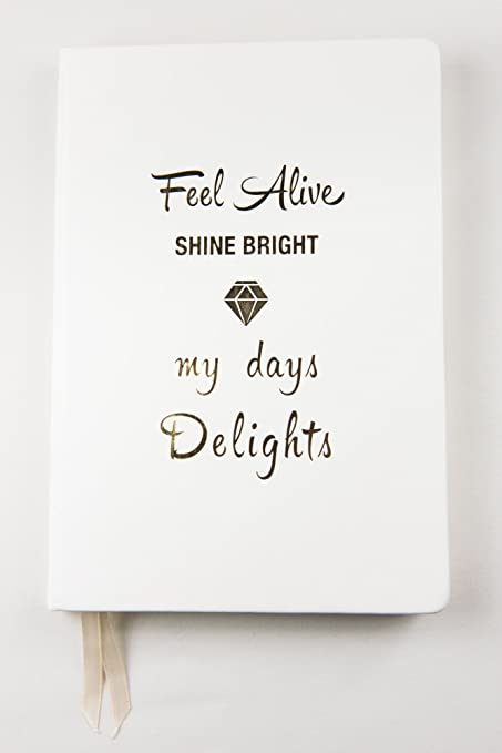amazon com hardcover white notebook with gold design ruled lines