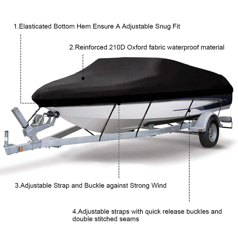 210D Heavy Duty Boat Speedboat Bass Cover 11 16 20 Ft Waterproof Fish Ski V-Hull
