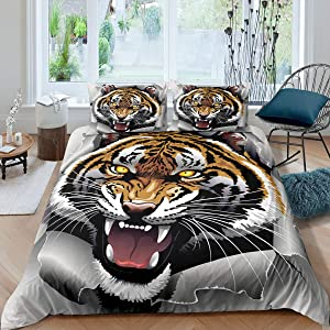 Erosebridal Tiger Comforter Cover, Wild Animals Pattern Bedding Set, Cartoon Painting Quilt Cover, Soft Luxury Microfiber Room Decoration for Kids 1 Duvet Cover with 1 Pillow Case, Twin Size