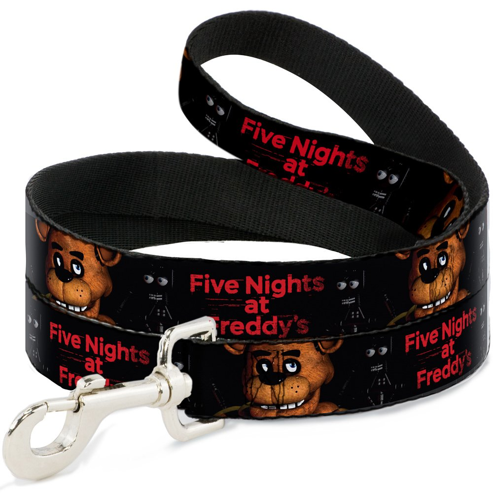 6'-1.5\ Buckle-Down Five Nights at Freddy's Freddy Face2 Close-UP Black Red  Pet Leash, 6'-1.5