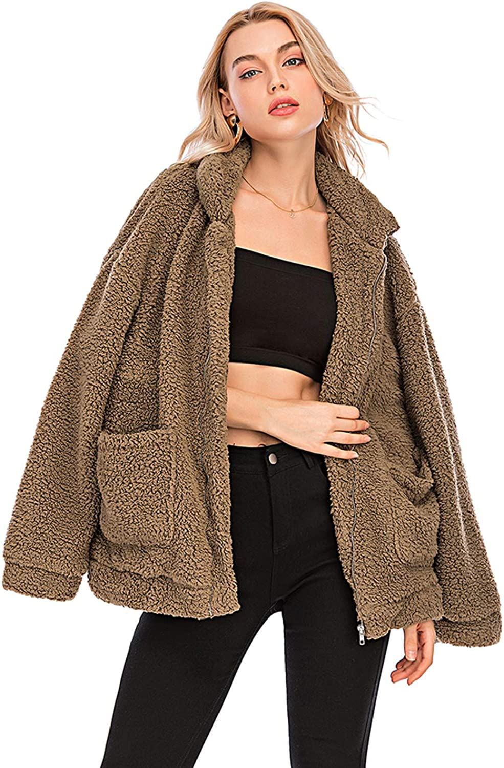 Womens Faux Shearling Jacket, Casual Lapel Fleece Fuzzy Jacket Shaggy Oversized Jacket Fashion Cardigan Coat