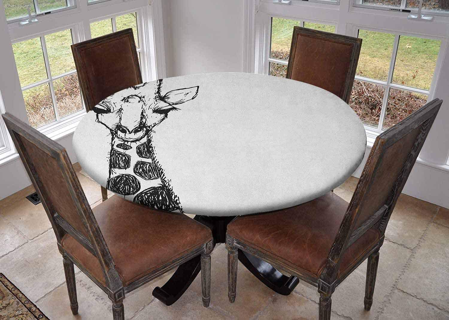 Round Tablecloth Kitchen Decoration Table Cover With Elastic Edges Diameter 62 Cute Graphic Of Safari Giraffe Tall Neck Spots West Wild Character Grey White Dining Tablecloth Amazon Co Uk Kitchen Home
