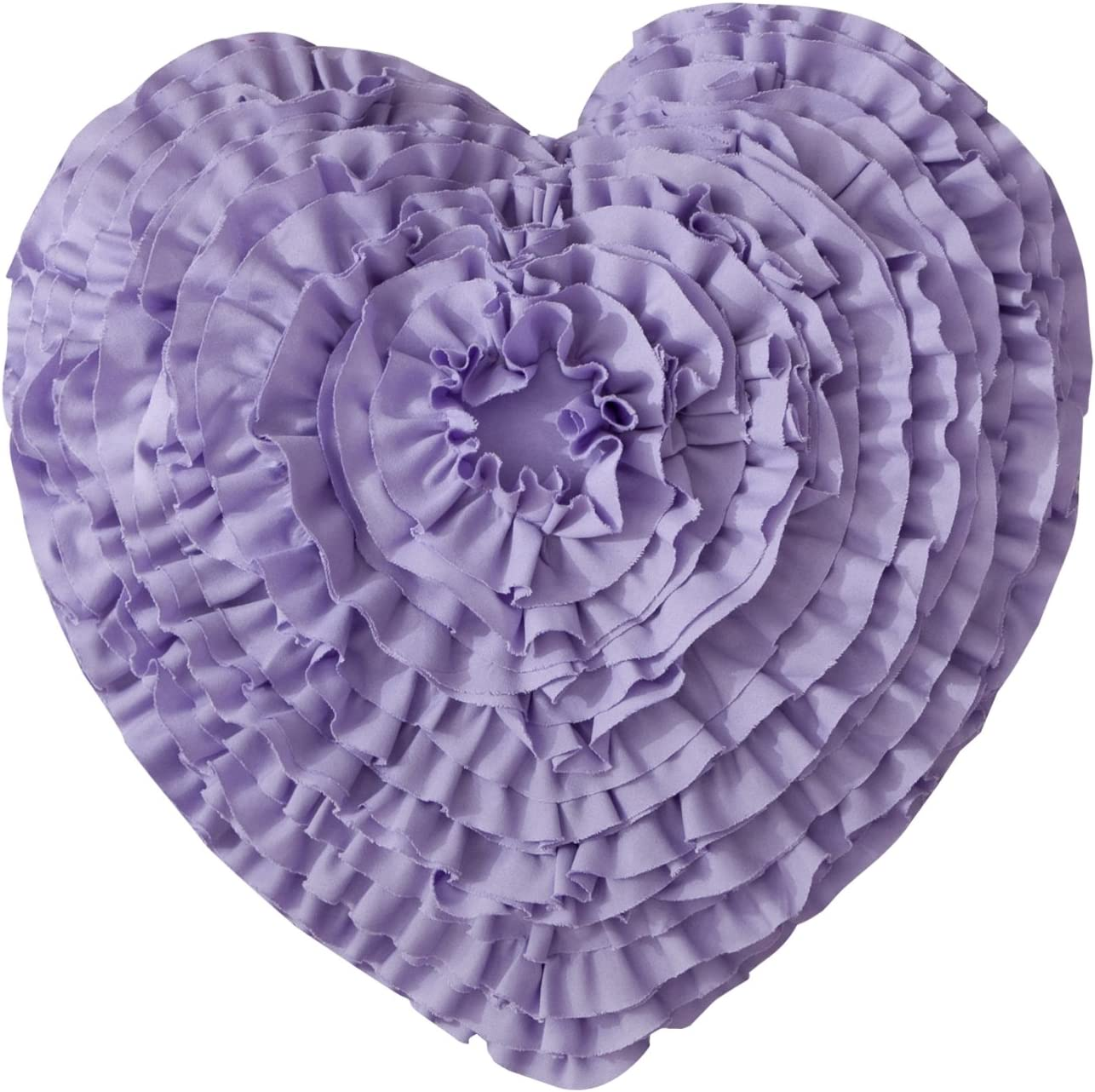 Mother s Day Throw Pillow Hand Crafted Love Heart Shaped Ruffled Floral Decorative Cushion Gifts for Mom 17 17 , Purple