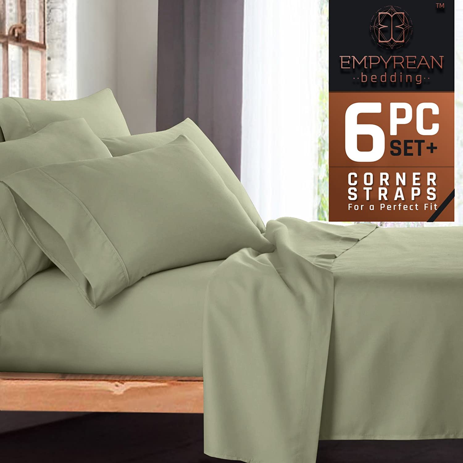 6-Piece Bed Sheet & Pillow Case Set – Luxurious & Soft Queen Size Linen, Extra Deep Pocket Super Fit Fitted Sage Olive Green Sheets