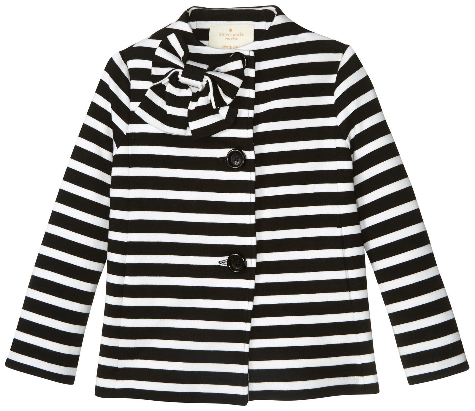 Kate Spade New York Girls' Dorothy Jacket, Black/Cream Stripe, 3T